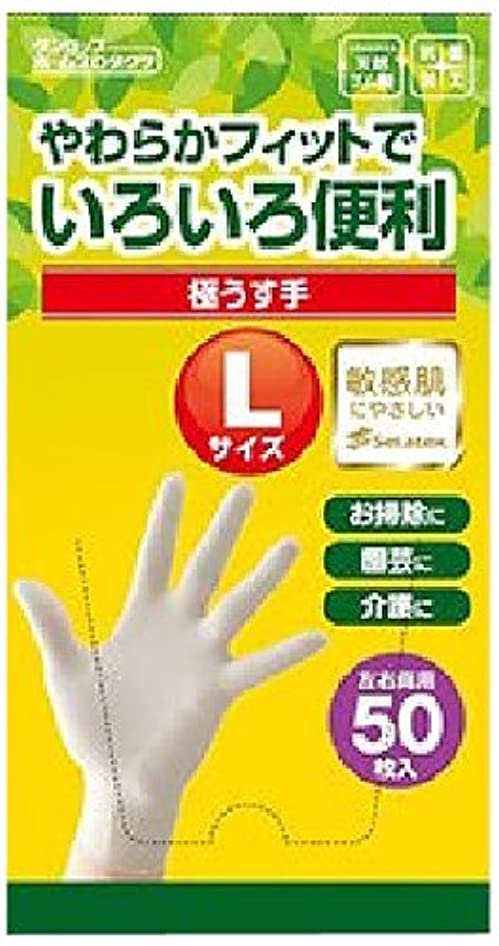 アルファベット毎週実行ダンロップ 脱タンパク天然極うす手袋 Lサイズ 50枚入り