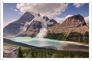ベルク氷河とマウントロブソン29115のティンサイン 金属看板 / Tin Sign Metal Poster of Berg Glacier And Mount Robson 29115