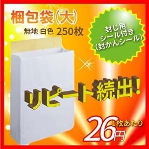 宅配袋 大 Lサイズ 250袋 テープ付き 白色 無地 [宅急便 紙袋 角底袋 角底 袋 梱包資材 梱包] サイズ (たて)400×(よこ)320×(マチ)110mm bagL