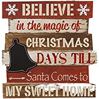"""Your Heart 's Delight 16"""" x 15"""" x 4"""" Believe in the Magic ofクリスマス黒板カウントダウンHanging Wall Sign"""