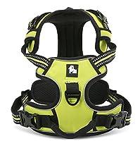 Kismaple 調節可能なソフトパッド付き大型/中型/大型犬用トレーニング/歩行犬用3M蛍光縞付きプットペット犬用ハーネス援助胸部ハーネス、胸ハーネス (XS (33-43cm), 緑)