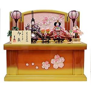 吉徳 雛人形 親王収納飾り 間口58×奥行38×高さ52cm 桜柄刺繍台屏風 605451