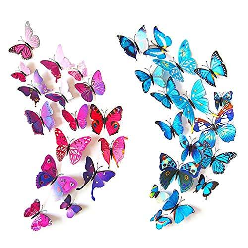 Mumiji かわいらしい蝶の部屋かざり 大きな 蝶 壁紙 立体 3D かわいい ウォールステッカー 24匹 赤&青 磁石 & 安全ピン タイプ 両面テープ付き 壁紙シール 立体3D 華やかな壁紙 ウォールステッカー インテリア 部屋 の 模様替え