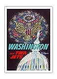 """ワシントンDC???Trans World Airlines Fly TWAジェッツ???American Eagle Freedom Fireworks over USA議会議事堂???ビンテージAirline旅行ポスターby David Klein c.1960???Fineアートプリント 12"""" x 16"""" Premium Giclée APPB3094"""