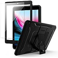 【Spigen】 タブレットケース iPad 9.7 ケース 2018/2017 対応 360度 全面保護 ケース 衝撃 吸収 ガラスフィルム 1枚入り タフ・アーマー テック 053CS22776 (ブラック)