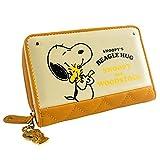 [スヌーピー] SNOOPY 財布 二つ折り財布 レディース ラウンドファスナー プリント ウッドストック かわいい キルティング カード入れ 小銭入れあり 女性用 (イエロー)