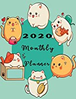 2020 Monthly Planner: Organizer To do List January - December 2020 Calendar Top goal and Focus Schedule Beautiful background Monthly and Weekly include Holiday cover design with best friend cats (Pet planner)