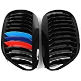 One Pair Front Grilles Gloss Black Type M-Color for BMW 6 Series 2005-2010 E63 E64