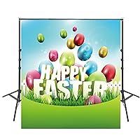 Happy Easter写真背景8x 8feet子供写真背景幕イースター卵写真背景Studio Props f031