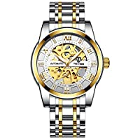 TEVISE 機械式腕時計 防水 高級 メンズ 夜光針 ステンレススチール スケルトン 自動巻き ゴールドホワイト