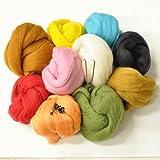 羊毛フェルト お試し福袋 羊毛10色 針2本 ぬいぐるみの目10個 羊毛 フェルト 手芸 セット
