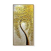 A-Fort 抽象ポーチ装飾画シンプルなアメリカンスタイルライト高級手描き油絵廊下廊下通路ラッキー絵画ゴールデンマネーツリー (Color : Champagne gold, Size : 50*70CM)