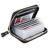 Alimei カードケース クレジットカードホルダー 革 ジッパー付き財布 メンズ レディース カード収納ホルダー 20枚収納