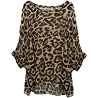 Rokou Women Chiffon Blouse Floral Batwing Sleeve Beach Loose Tunic Shirt Tops