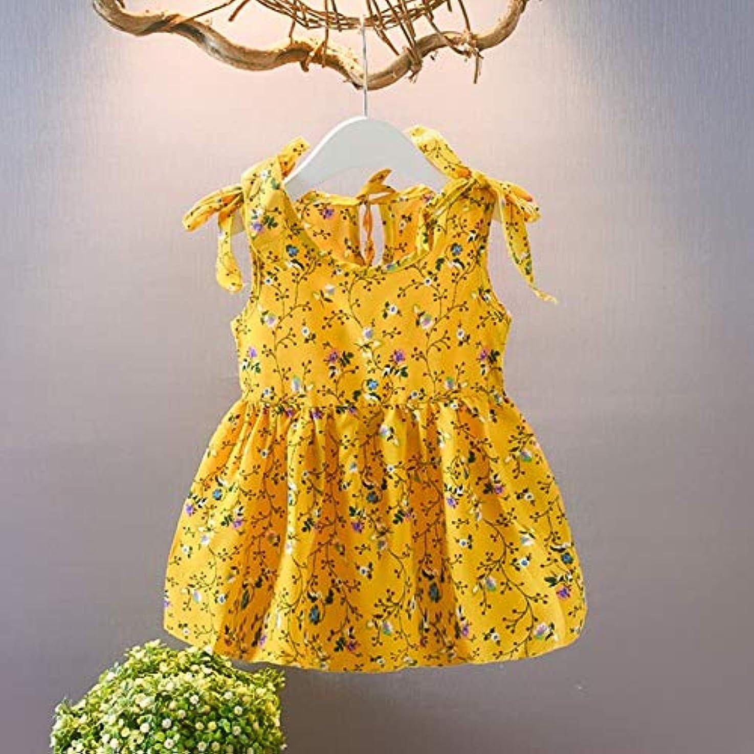 プレゼン静かな清めるZXSM O-首ファッションベビー女の子のドレスの綿の定期的な幼児ベビーキッズ女の子ノースリーブリボンボウ花プリンセスドレスH5 (色 : C, Kid Size : 18M)