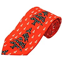 Jacob Alexander Boys' Prep Red Orange Abstract Christmas Trees Regular Length Neck Tie