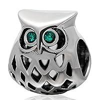 Choruslove Wise Owlエメラルドクリスタルチャームアンティーク925スターリングシルバービーズフィットDIY欧州ブレスレット