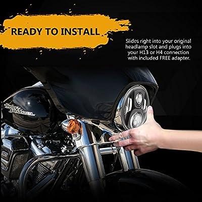 """7"""" LED Headlight Compatible for Harley Davidson Motorcycle Projector Daymaker HID LED Light Bulb For Jeep Wrangler JK LJ CJ Headlamp Black"""