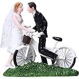 ACHICOO ウエディングケーキトッパー 装飾 ウエディング ベール 樹脂 ケーキトッパー 新郎 新婦 自転車 結婚式 フィギュア