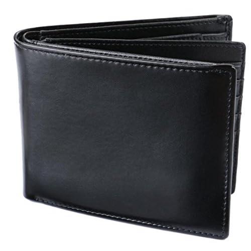 [レガーレ] 二つ折り財布 本革 大容量 カード15枚収納 カラー豊富 (ベロア化粧箱入り) 大容量2つ折り財布 ブラック×ブラック