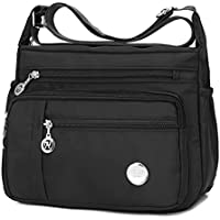 Waterproof Nylon Shoulder Crossbody Bags - Handbag Zipper Pocket Tote Bag Purses Satchel for Ladies Women Girls Black