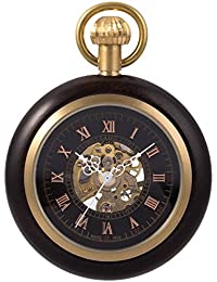 懐中時計 手巻き 機械式 メンズ 懐中時計 紳士 レトロ 黒 木製 ゴシックローマ数字 無蓋