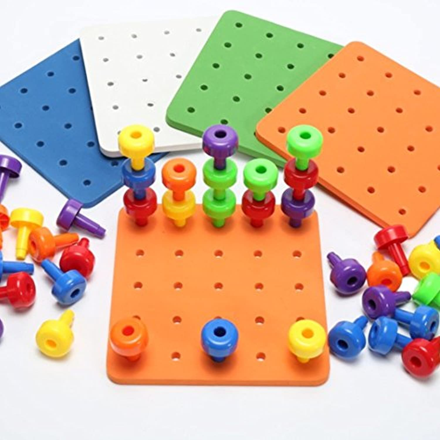 T-Juan MM Peg Board Set for Toddlers and Preschoolers Occupational Therapy Montessori Colour Recognition Sorting & Counting(Fine Motor Toy Pegboard Set with 30 Pegs in Board)