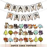 Ajworld ウッドランドベビーシャワーデコレーション ベビーボーイ バナーとケーキトッパーキット 森の生き物 森の動物 キツネがテーマのパーティー用品 男の子用 (25ピース)