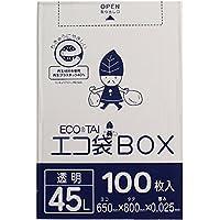 ポリ袋 ごみ袋 45L 透明 0.025mm厚 100枚入 ボックスタイプ Bedwin Mart