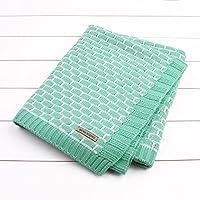通気性の柔らかい朝の昼寝毛布の子供 格子模様の手作りの空調カバーブランケット (ブドウ緑)