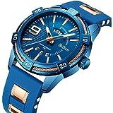 腕時計 メンズ腕時計 ブルー ビジネス ファッション クラシック シリコンストラップ 日付表示 防水 メンズクォーツアナログ表示 時計