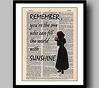 白雪姫ポスター4引用水彩画プリントディズニープリンセスヴィンテージ辞書プリント、音楽アートプリント、ウォールアート、家の装飾、コミックプリント、おとぎ話プリント、フレーム付き45×35 cm