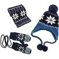 AMAZACER Boys' Scarf, Hat & Glove Set One Size (Color : Navy, Size : Medium)