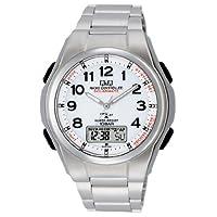 [シチズン キューアンドキュー]CITIZEN Q&Q 電波ソーラー腕時計 SOLARMATE (ソーラーメイト) アナログ表示 クロノグラフ機能付き 10気圧防水 ブレスレットバンド ホワイト MD02-204 メンズ