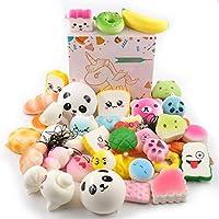 DEKIRU スクイーズ 低反発 20個セット squishy toys スクイーズおもちゃ キーチェーン付き ストレス解消おもちゃ 子供 プレゼント (20個ランダム)