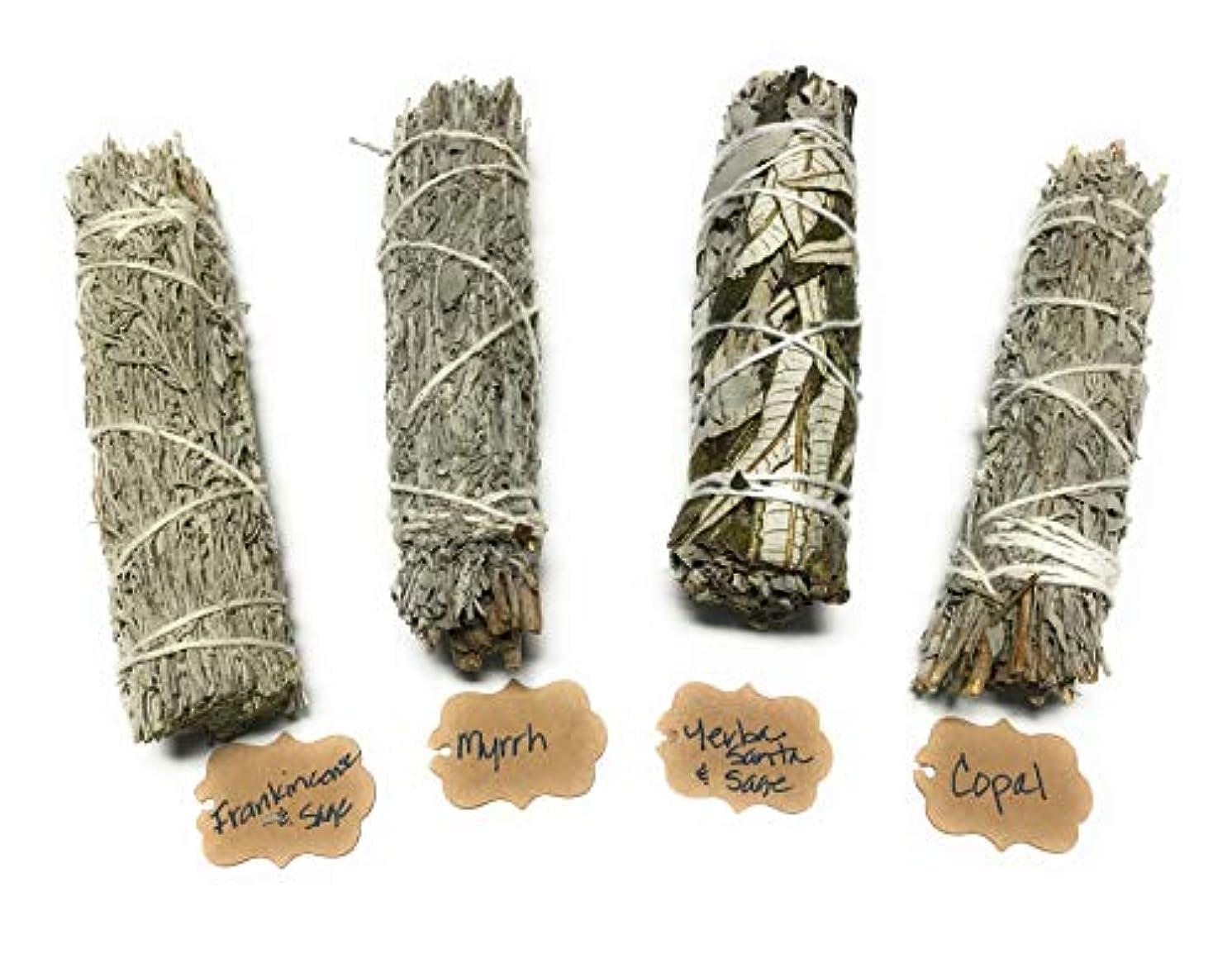 覗く放棄ミュートArianna Willow Mystical バラエティスマッジスティック Copal、Frankincense、Myrrh、Yerba Santaを含む