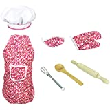 Baoblaze 7pcs Kitchen Cooking Set Girls Boys Chef Apron Cap Glove Props, Eggbeater Tools Kit Toy Kids Development Educational Pretend Play