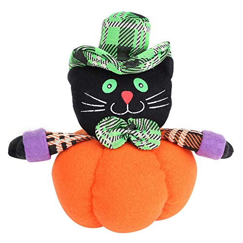 デラマン パンプキン 人形 ハロウィン デコレーション ゴースト人形 スイートパンプキン人形 12x24cm Black cat オレンジ EKKRDEK-DPHG05W9-BC