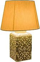 De Carlo 手描き装飾 木製ベース付き ランプ
