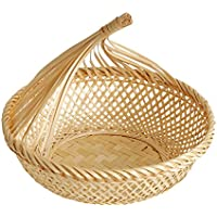 FLAMEER 美しい デザイン 手作り 竹製 バスケット フルーツ 野菜 ディスプレイ トレイ 全3種  - #3, L
