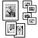 Gallery Perfect 7 Piece Black Photo Frame Wall Gallery Kit. Includes: Frames, Hanging Wall Template, Decorative Art Prints and Hanging Hardware