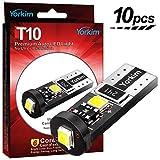 Yorkim T10 LED ホワイト 爆光 10個入 無極性 キャンセラー内蔵 三面発光 ポジションランプ/ナンバー灯/ルームランプ 12v 2w 6000K 1年保証