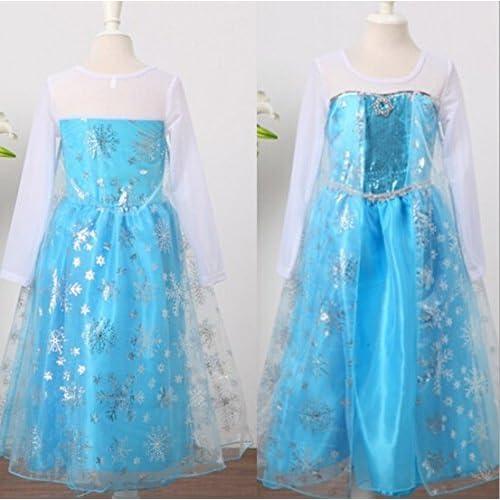 アナと雪の女王 Frozen Elsa ディズニー プリンセス ドレス ワンピース キラキラティアラセット  雪の女王 グッズ  エルサ コスプレ 仮装 衣装 ハロウィン キッズ (120cm)