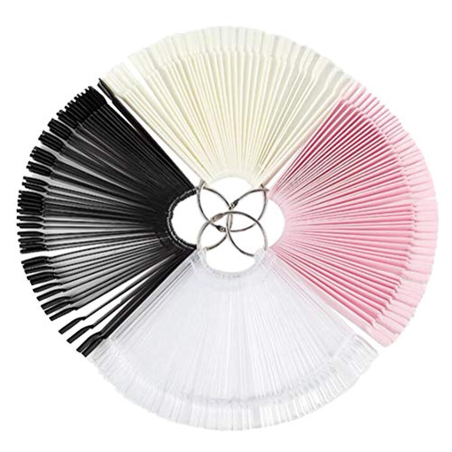 ネイルアート50枚/ 4枚のための扇形のネイル見本のマニキュアカラーディスプレイのヒント