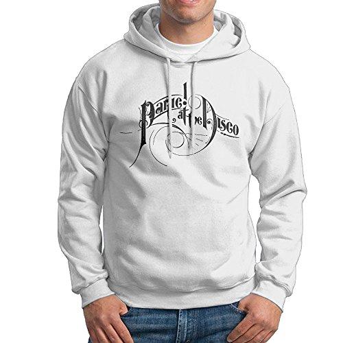 ちひろ パニック アット ザ ディスコ 英字 プリント メンズ スタイリッシュ スウェットシャツ フード付き プルオーバーパーカー ジム White