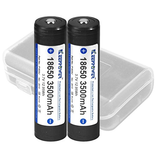 【日本製 KEEPPOWER 18650 3500mAh リチウムイオンバッテリー】電池ケース付属 (パナソニック製Cell SEIKO製PCB回路搭載) (3500mAh 2本セット)
