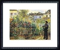 ポスター ピエール オーギュスト ルノワール Monet Painting in his Garden at Argentuil 額装品 ウッドハイグレードフレーム(ネイビー)