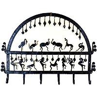 Chinhhari Art オリジナル ハンドメイド クリエイティブ アフリカン 錬鉄 トライバル アート 壁取り付け 装飾 6フック キーホルダー オーガナイザー キーフック キーハンガー キーラック どんな部屋にも