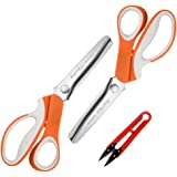 Pinking Shears Set (Pack of 2 PCS, Serrated & Scalloped edges) By Chooling - Zig-zag Scissor for Fabric Leather & Paper - Pin