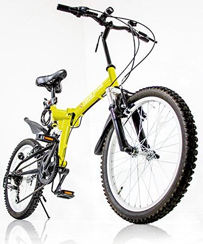 折りたたみ自転車 20インチ シマノ6段変速ギア 前後サスペンション AJ-01 マウンテンバイク フロントライト/前後泥除け/ワイヤーロック錠/折り畳み自転車/MTB/小径車/PL保険 (イエロー)